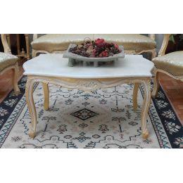 Table Basse de Style Louis XV 90cm - Couleurs de bois et marbres sur Mesure