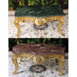 Table Basse Baroque - 95cm - Couleurs de bois et marbres sur Mesure