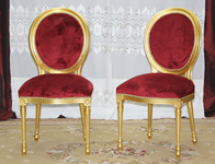 chaise medaillon dore