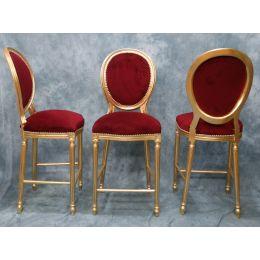 3 Chaises Medaillon De Bar Tabouret De Bar Medaillon Or Et