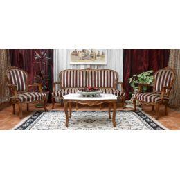 Salon Louis XV - 1 Canapé Cabriolet 3pl avec 2 Fauteuils et une Table Basse