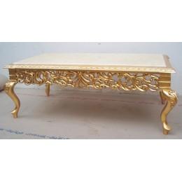 Table Basse Baroque 110cm - Couleurs de bois et marbres sur Mesure
