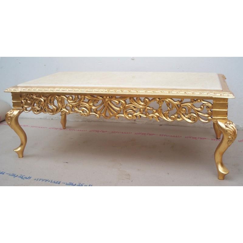 Table Basse Baroque Sculptée - 110cm - Marbre blanc/beige ...