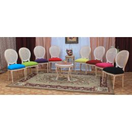 6 CHAISES MEDAILLON - Cannage - Dore Blanchie - Multicouleurs