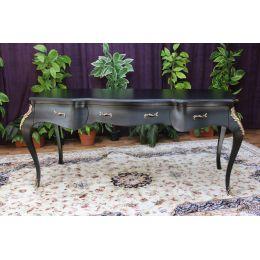 Bureau 150cm Style Louis XV BAROQUE - Laque Noir