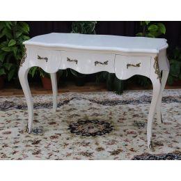 Bureau 190cm Style Louis XV BAROQUE - Laque Blanc