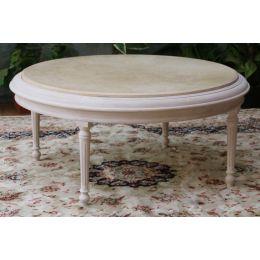 Table Basse Ronde de Style Louis XVI 85cm - Couleurs de bois et marbres sur Mesure