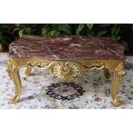 Table Basse Baroque - 85cm - Couleurs de bois et marbres sur Mesure