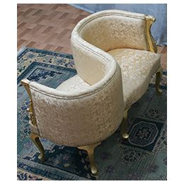 Fauteuil Confident 2 places de Style Louis XVI - Satin Creme et Or