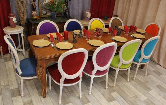 table louis XV chaise médaillon louis XVI